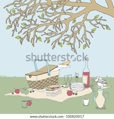 Picnic under a Tree - stock vector