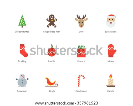 Pictogram collection of Christmas and New Year with santa claus, deer, present, candy, cookie man for xmas website decoration. Flat color icons set. Isolated on white background. - stock vector
