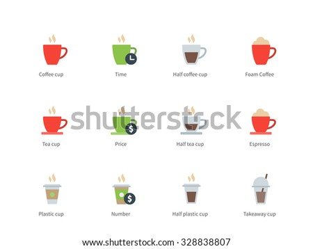 Pictogram collection of Coffee Cup and Types, Latte, Americano, Cappuccino, Espresso, Black Coffee for Cafe and Restaurant. Flat color icons set. Isolated on white background. - stock vector