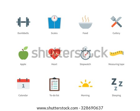Pictogram collection of Fitness and Healthy Lifestyle, Food, Diet, Training Days, Scales for Gum Website and Health Apps. Flat color icons set. Isolated on white background. - stock vector