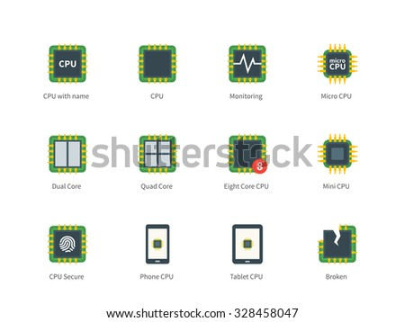 Pictogram collection of Modern Computer Processor and Multi Core Processors, Eco, Broken CPU for Repair Service and Computer Shop. Flat color icons set. Isolated on white background. - stock vector