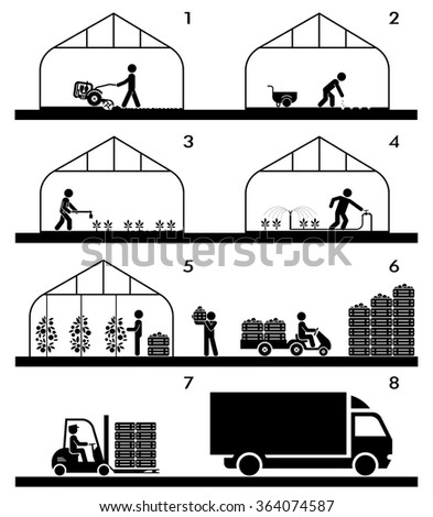Pictogram icon set presenting different stages in agricultural process and gardening. Plowing, sowing, watering, picking, palletisation and warehousing, transporting. - stock vector
