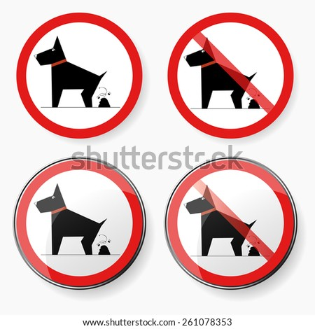 Pictogram - no dog pooping sign, in red and white, plain and with reflections - stock vector