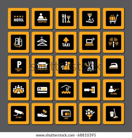 Pictogram set for hospitality industry in orange and white on black - stock vector