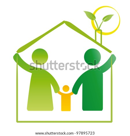Pictogram showing figures happy family in house - stock vector