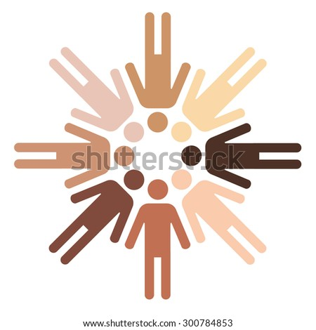 pictograms of human figures with different skin color forming a circle - stock vector