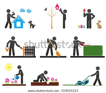 Pictograms representing people doing different backyard work - stock vector