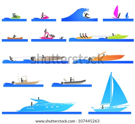 Pictograms representing people on different types of boat - stock vector