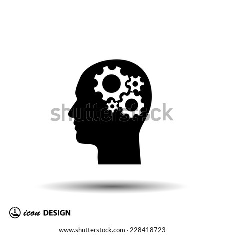 Pictograph of gear in head - stock vector