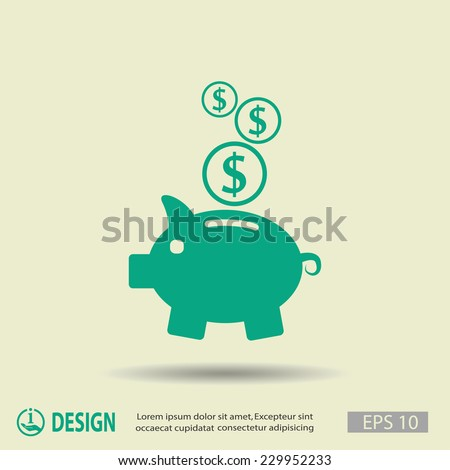 Pictograph of moneybox - stock vector