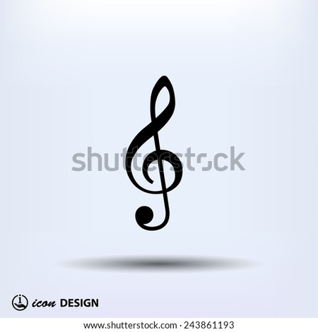 Pictograph of music key - stock vector