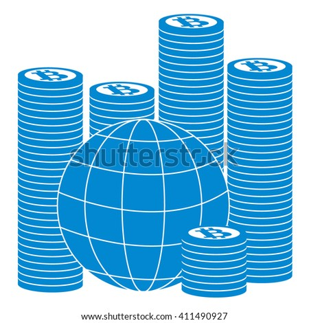 Picture describing the possibilities of using bitcoin as a means of payment in the world: a pile of bitcoins and globe on white background - stock vector