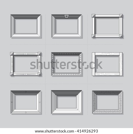 Picture frame flat vector. Photo frame. Painting frame. Frame set. Icons. Simple - stock vector