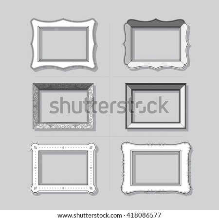 Picture frame flat vector. Photo frame. Painting frame. Icon set. - stock vector