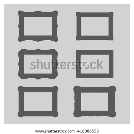 Picture frame silhouette flat vector. Photo frame. Painting frame. Icon set. - stock vector