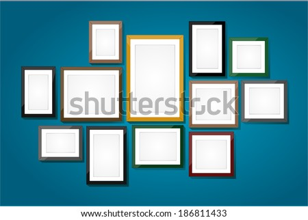 Picture frame vector. Photo art gallery on vintage wall.  - stock vector