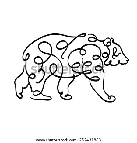 picture of a bear on a white background - stock vector