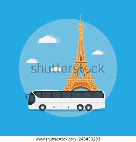 Picture of a bus in front of the Eiffel Tower, flat style illustration, travel concept - stock vector
