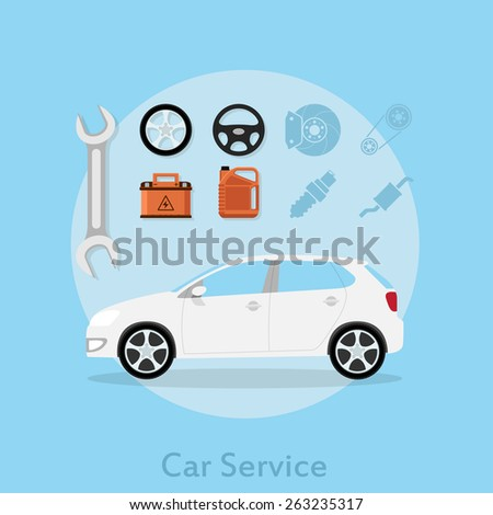 picture of a car with icons of wheel, steering wheel, car battery, oil can, wrench and other, flat style illustration, car service concept - stock vector
