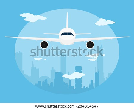 picture of a civilian plane in front of big city silhouette, flat style illustration - stock vector