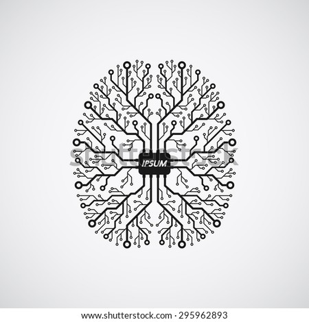 picture of a human brain in form of printed circuit board - stock vector