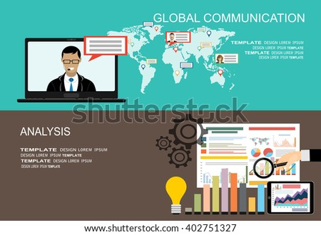 Picture of a man on laptop's screen with world map on background. Global communication,internet communication technology concept. Flat style template for web banners,printed materials,infographics. - stock vector