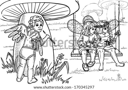 picture of a small Cupid who oversees two girls fairies. Drawing on paper. - stock vector