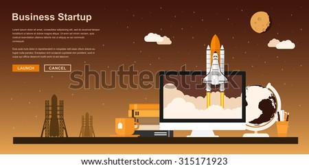 Picture of a space shuttle starting up from pc monitor, flat style concept for business startup, new product or service launch - stock vector