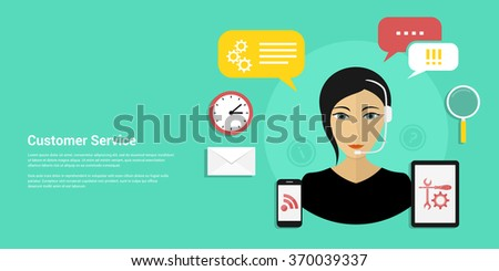 Picture of a woman wearing headset with icons and speech bubbles. Customer service and technical support concept flat style design for web banners, web sites, printed materials, infographics. - stock vector