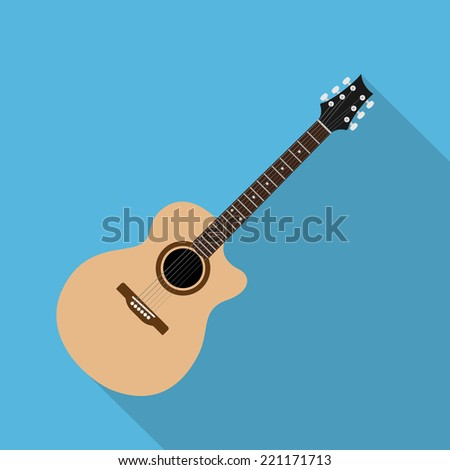 picture of acoustic guitar, flat style illustration - stock vector