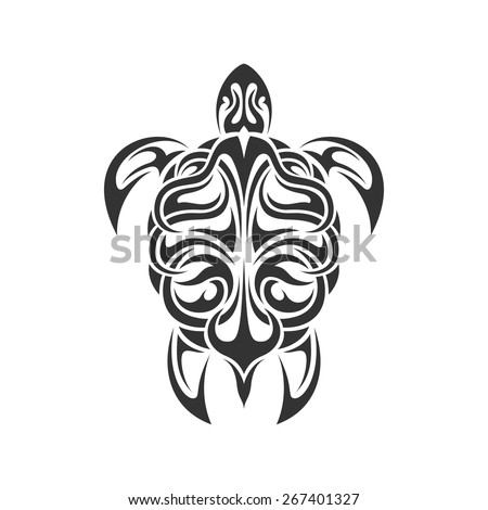 picture of black and white sea turtle in tribal style isolated on white background - stock vector