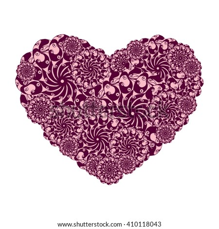 Picture of the heart of stylized flowers in pale rose and chocolate colors. Isolated on white background. Vector illustration. - stock vector