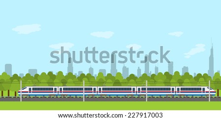 picture of train on railway with forest and city silhouette on background, flat style infographic - stock vector