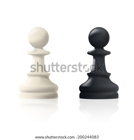 picture of two chess pawns, black and white, figures are isolated on white background - stock vector