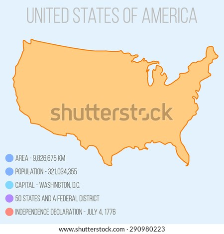 Picture of USA map with short infographic facts. Vector illustration - stock vector