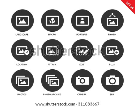 Picture vector icons set. Art concept. Painting and photography items. Icons for galleries and advertising, landscape, portrait, photo, macro, camera. Isolated on white background - stock vector