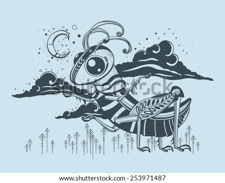 Picture with a fantastic grasshopper. Background of the night sky. - stock vector