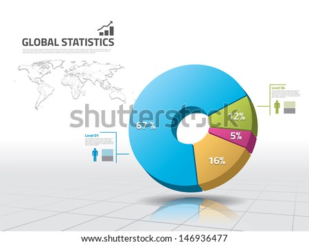 Pie chart: business statistics - stock vector