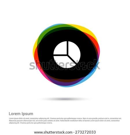 Pie chart diagram Icon, White pictogram icon creative circle Multicolor background. Vector illustration. Flat icon design style - stock vector