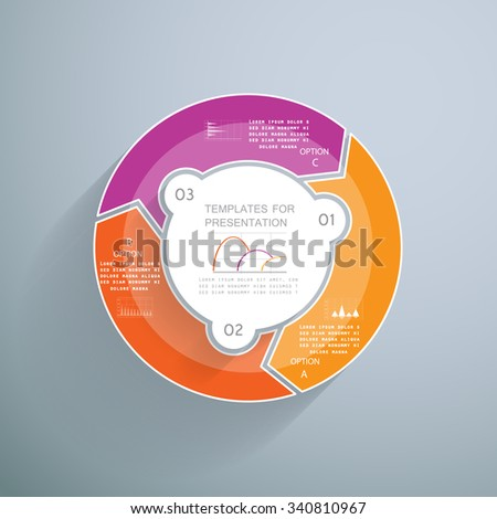Pie chart for business presentation in 3 steps or processes - stock vector