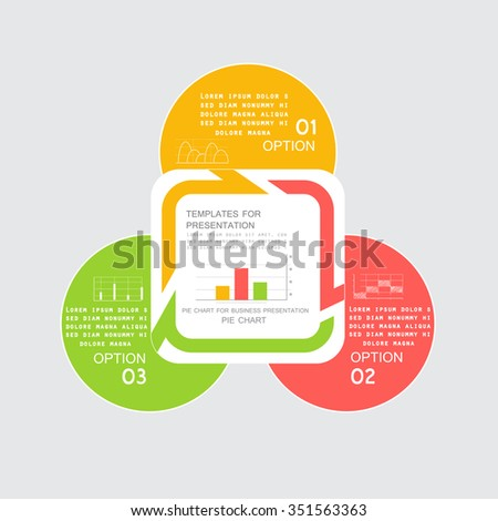 Pie chart in 3 steps for business reports - stock vector