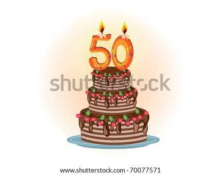 Pie to the fifty years - stock vector