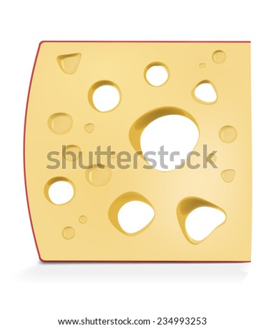 piece of cheese isolated on white - stock vector
