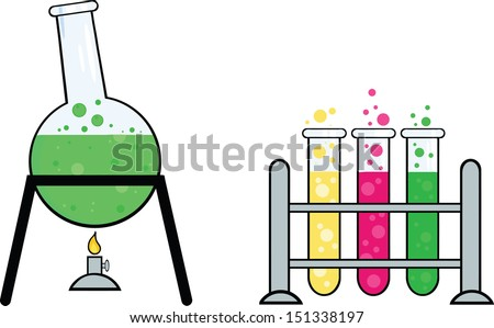 Pieces Of Equipment From A Chemistry Laboratory - stock vector