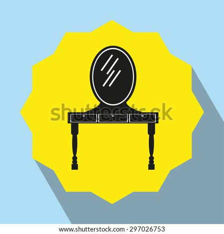 Pieces of furniture. Dressing table with mirror. Vector icon. - stock vector