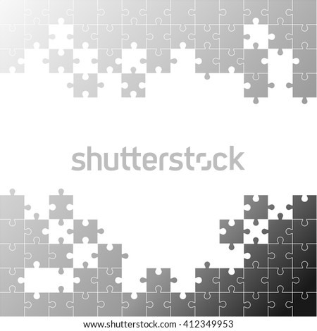 Pieces of the puzzle black on a white background. Space for your text. Vector illustration EPS 10. - stock vector