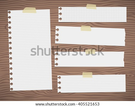 Pieces of torn brown lined note paper is stuck on gray wooden wall or board - stock vector