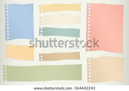 Pieces of torn colorful blank note paper with adhesive tape - stock vector