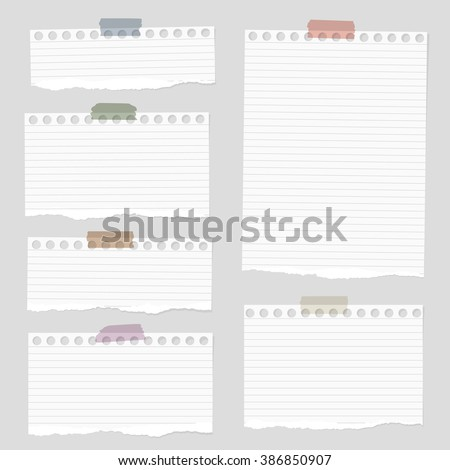 Pieces of torn white blank lined note paper with colorful sticky tape on gray background - stock vector