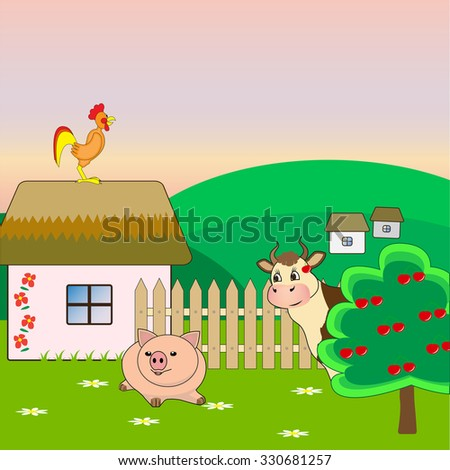 pig, cow and rooster on a farm - stock vector